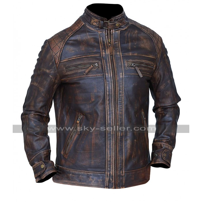 Cafe Racer Biker Diamond Classic Distressed Brown Motorbike Leather Jacket