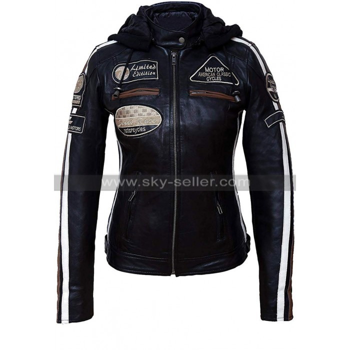 Womens Retro Black Biker Speed Race Badges Motorcycle Leather Jacket with Hood