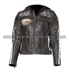 Womens Cafe Racer Retro Biker Outfit Distressed Black Motorcycle Leather Jacket