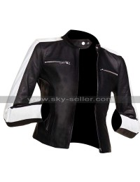 Womens Slim Biker Cafe Racer White Sleeve Stripe Motorcycle Black Leather Jacket