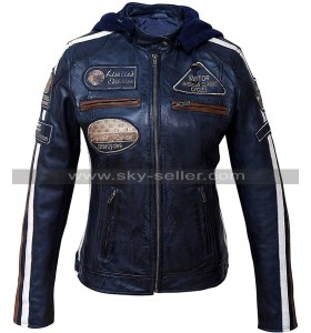 Ladies Cafe Racer Retro Biker Badges Blue Motorcycle Leather Jacket with Hood