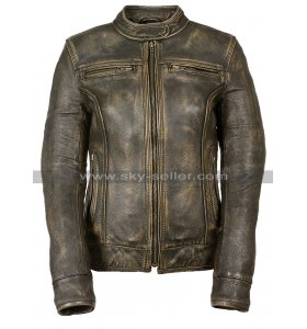Womens Vintage Cafe Racer Biker Triple Stitch Distressed Brown Motorcycle Leather Jacket