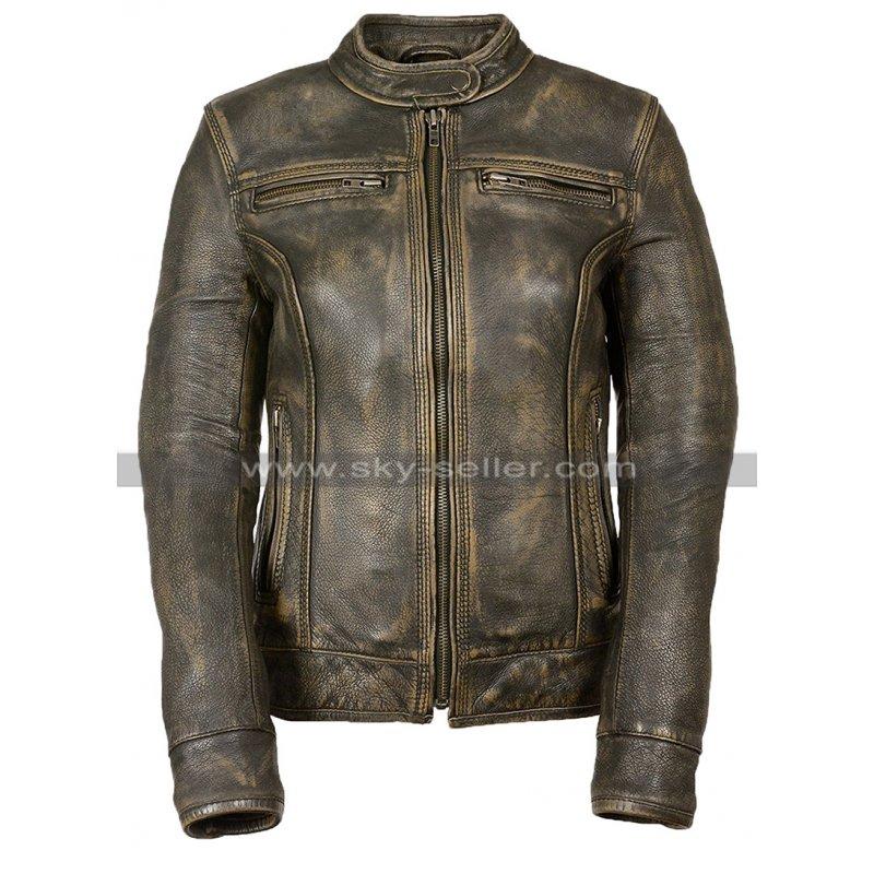 Womens Latest Cafe Racer Moto Biker Distressed Brown Vintage Real Leather Jacket