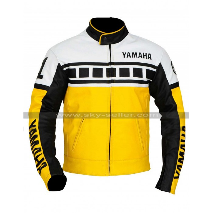 Yamaha Yellow Biker Leather Jacket