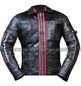 Alita: Battle Angel Keean Johnson Hugo Cafe Racer Distressed Biker Leather Jacket