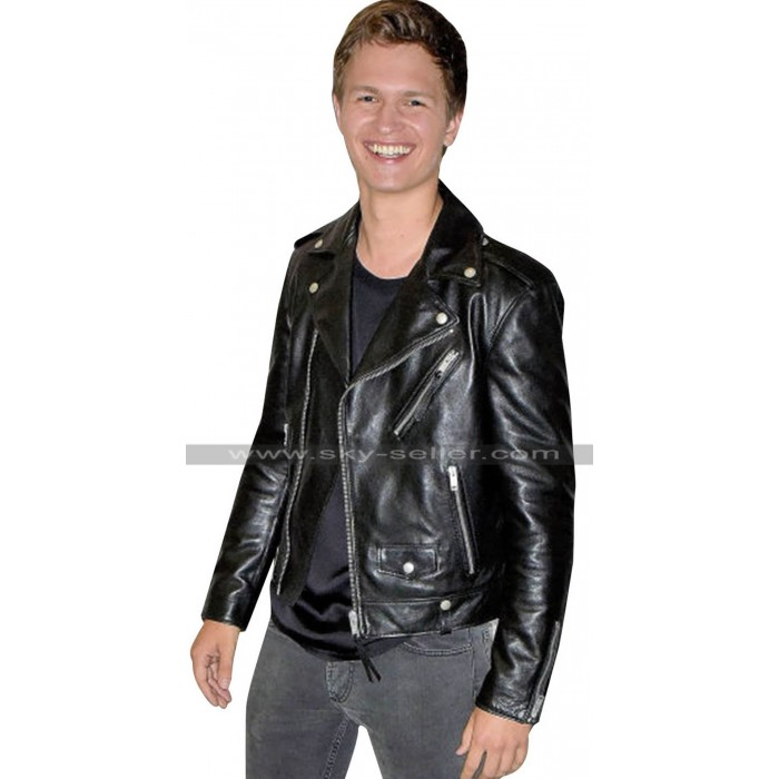 Ansel Elgort Baby Driver Black Motorcycle Leather Jacket