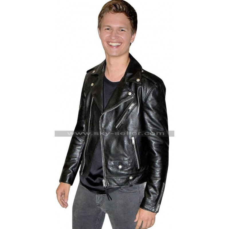 0805d15ba824 Ansel Elgort Baby Driver Black Motorcycle Leather Jacket