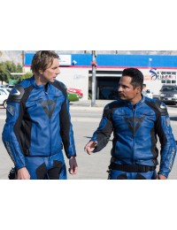Chips Ponch / Jon Dainese Blue Motorcycle Leather Jacket