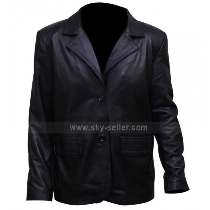 Dark Blue Eldon Perry (Kurt Russell) Biker Leather Jacket