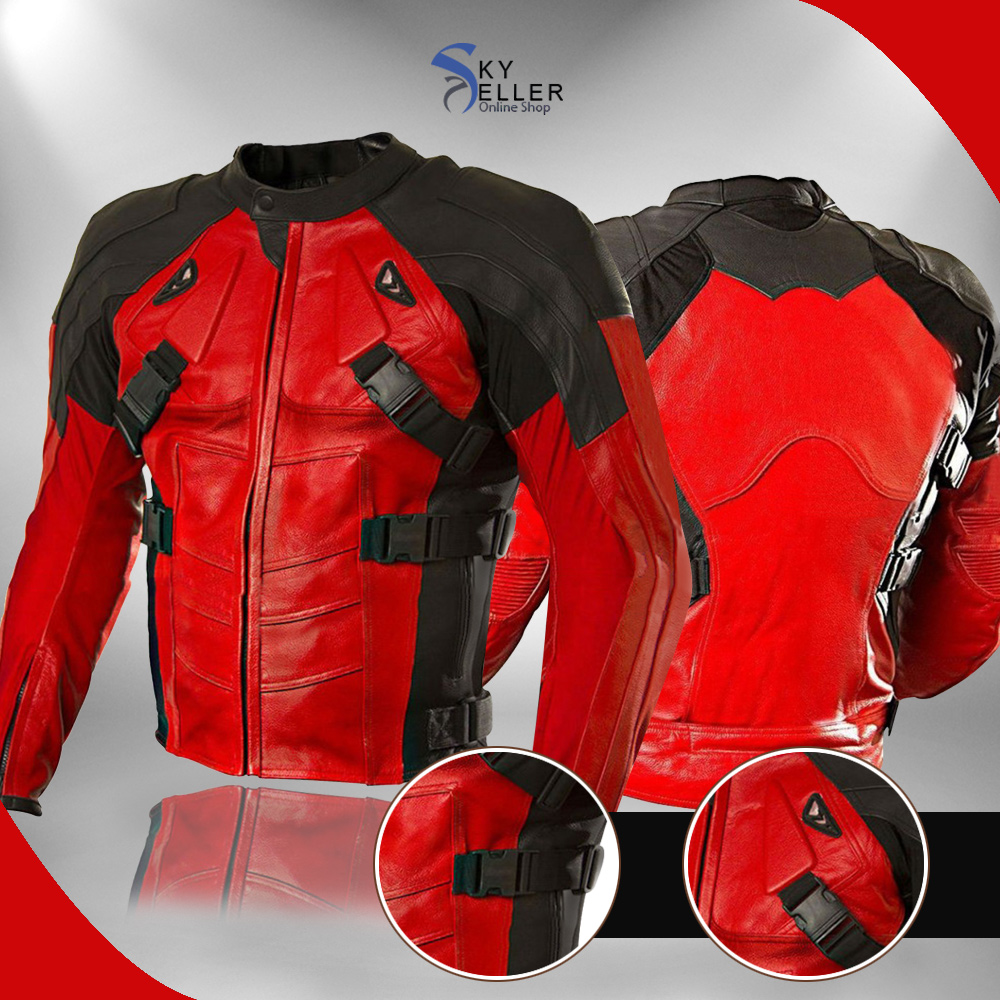 Deadpool Red and Black Motorcycle Leather Jacket