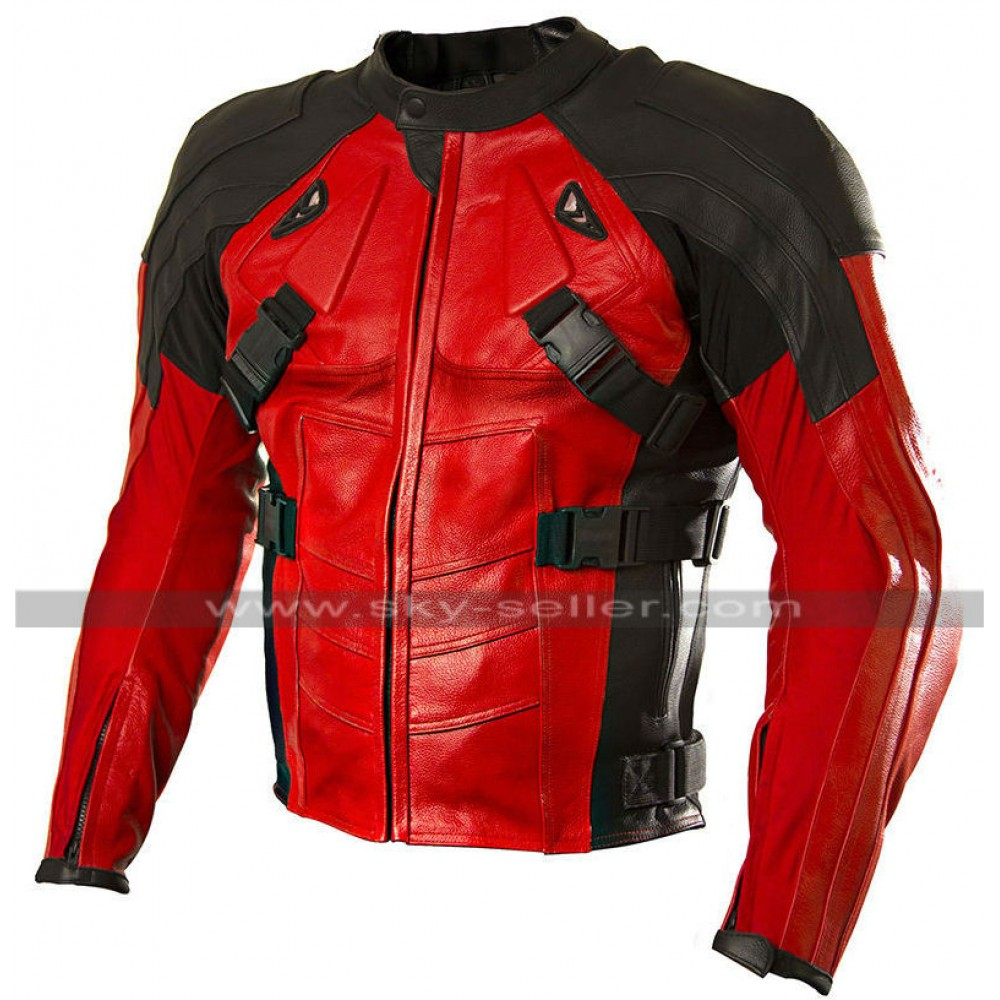 Red and Black Motorcycle Leather Jacket