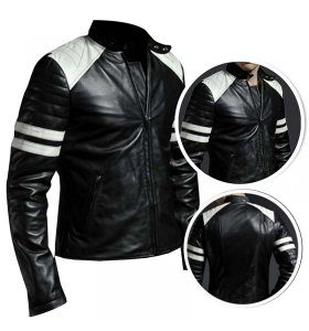 Brad Pitt Hybrid Mayhem Retro Cafe Racer Motorcycle White Stripes Black Leather Jacket