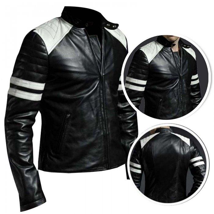 Brad Pitt Hybrid Mayhem Retro Cafe Racer Motorcycle White Stripes Black Leather Jacket