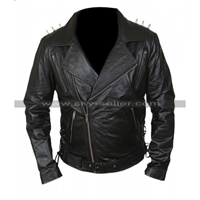 Ghost Rider Nicolas Cage Metal Spikes Leather Jacket