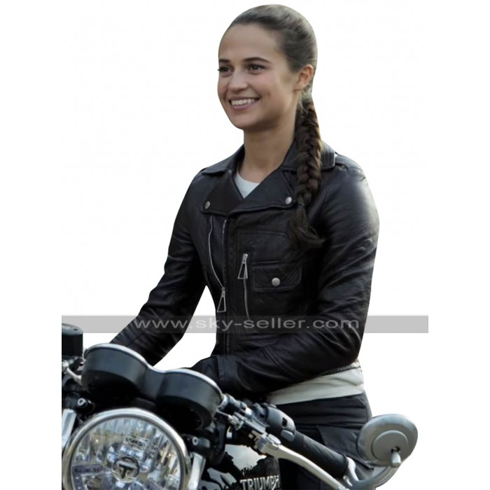 Alicia Vikander Tomb Raider Lara Croft Brando Biker Black Leather Jacket