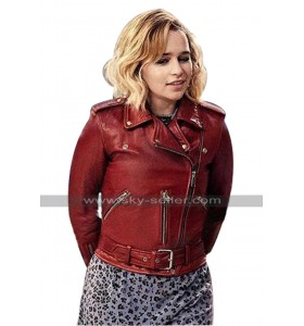 Emilia Clarke Last Chrismas Kate Red Leather Jacket