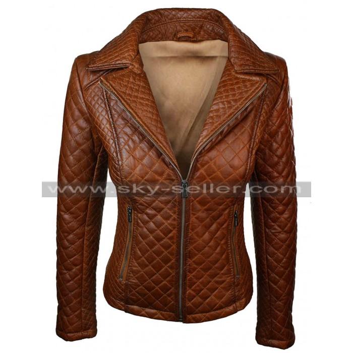 Quilted Women's Slimfit Brown Biker Leather Jacket