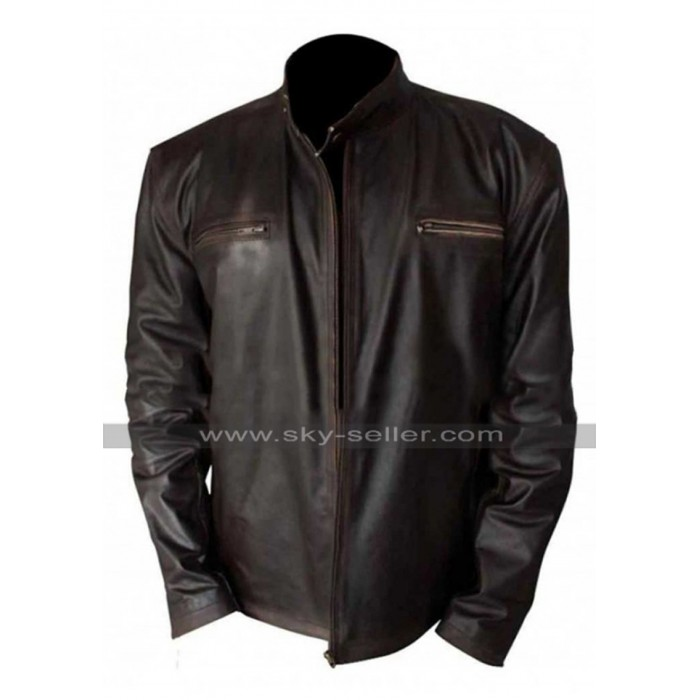 Tommy Gavin Rescue Me Denis Leary Distressed Brown Biker Leather Jacket