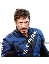 Tony Stark Iron Man 2 Robert Downey Biker Blue Motorcycle Leather Jacket