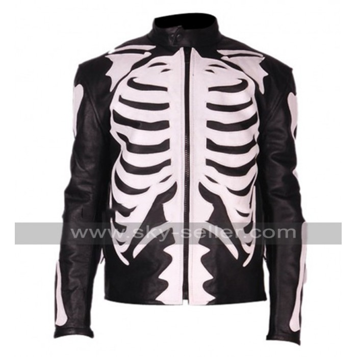 Skeleton Sketch Men's Black Biker Leather Jacket