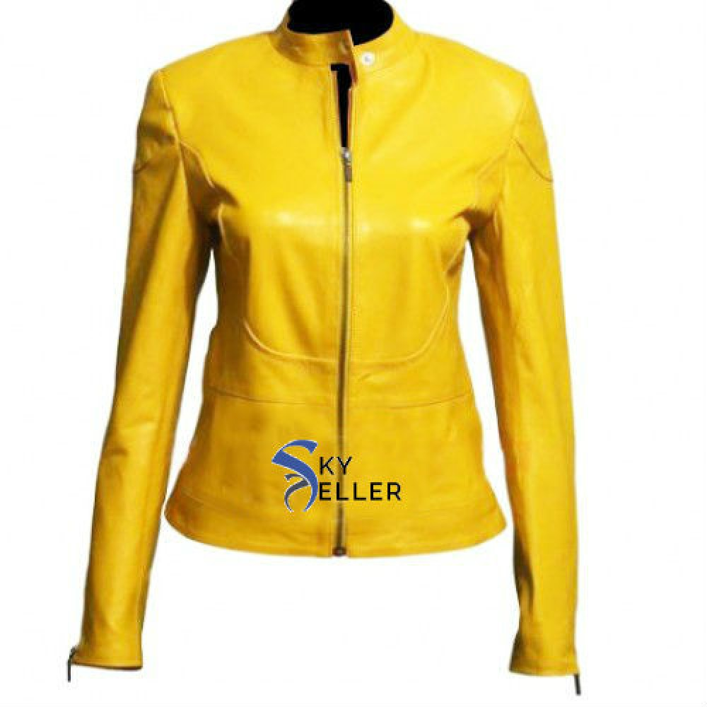 Yellow leather motorcycle jacket