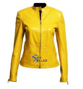 Teenage Mutant Megan Fox (April O'Neil) Yellow Biker Leather Jacket