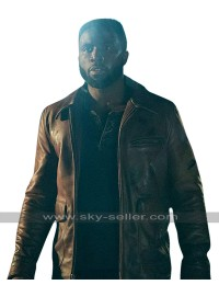 The First Purge Y'lan Noel (Dmitri) Biker Brown Leather Jacket
