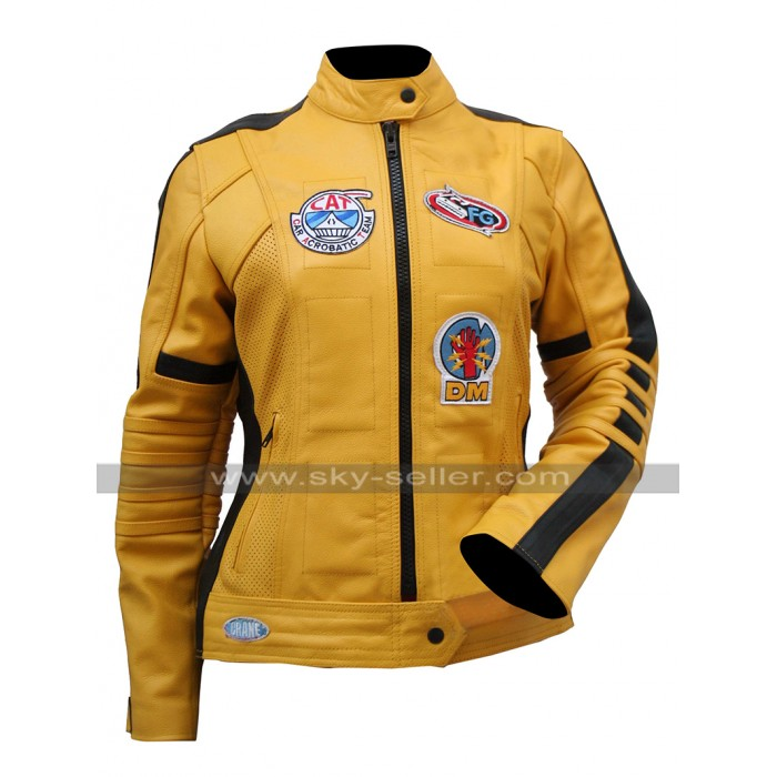 Uma Thurman Kill Bill The Bride Yellow Motorcycle Jacket For Mens / Womens