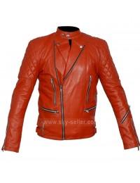 Marlon Brando Unisex Perfecto Red Motorcycle Leather Jacket