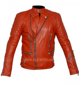 Marlon Brando Unisex Perfecto Red Motorcycle Leather Jacket