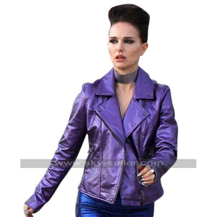 Vox Lux Natalie Portman (Celeste) Brando Biker Purple Leather Jacket