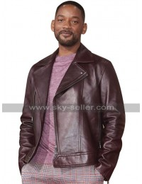 Bad Boys for Life Will Smith Maroon Leather Jacket in Biker Style