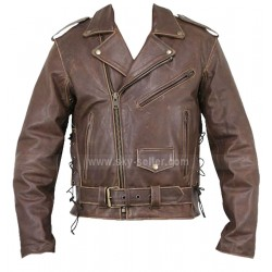 Arnold Terminator Style Motorcycle Brown Leather Jacket
