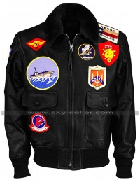Tom Cruise Pilot Aviator Style Bomber Jacket With Patches