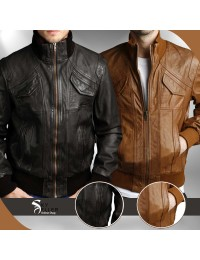 Men's 4 Pockets Slimfit Bomber Leather Jacket