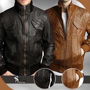Men's 4 Pockets Slimfit Bomber Leather Jacket
