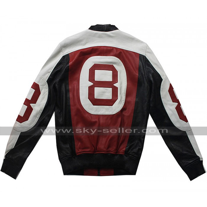 Seinfeld David Puddy Patrick Warburton 8 Ball Bomber Varsity Leather Jacket