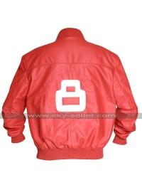 Mens 8 Ball Bomber Style Varsity Biker Letterman Red Leather Jacket