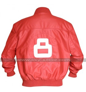 Mens 8 Ball Bomber Style Varsity Biker Letterman Red Leather Jacket