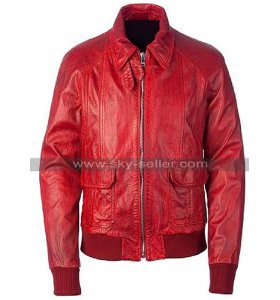 Mens A2 Aviator Jacket - USAAF Pilot Cockpit Flight Bomber Red Leather Jacket