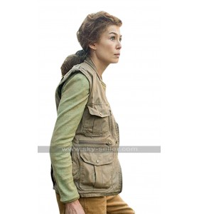 Rosamund Pike A Private War Marie Colvin Brown Cotton Leather Vest