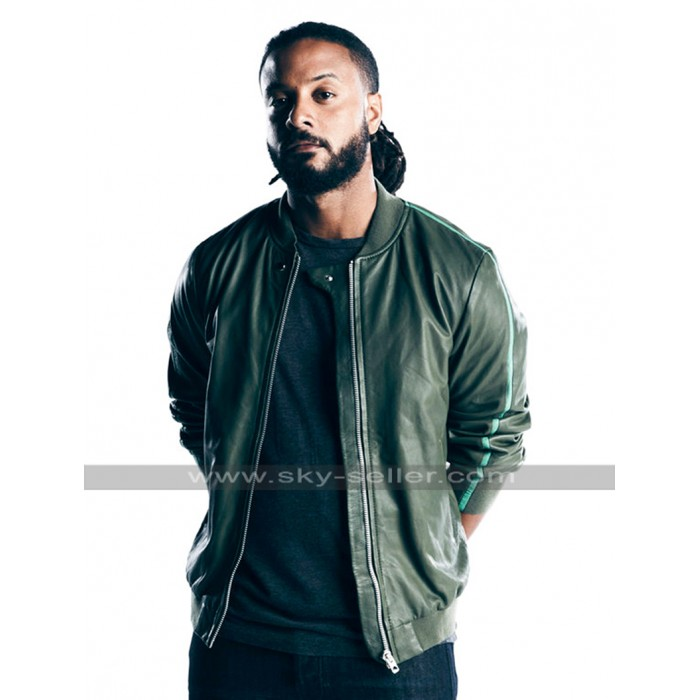 Brandon Jay McLaren Graceland Dale Jakes Bomber Green Leather Jacket
