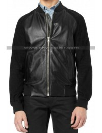 Andrew Garfield Black Suede Sleeves Bomber Leather Jacket