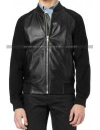 Andrew Garfield Black Suede Sleeves Bomber Leather Jacket