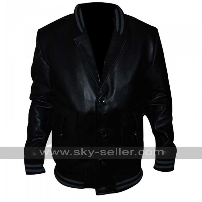 Ashton Kutcher Spread Nikki Black Bomber Jacket
