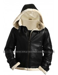 B3 Aviator Pilot Flying Fur Shearling Removable Hood Bomber Sheepskin Leather Jacket