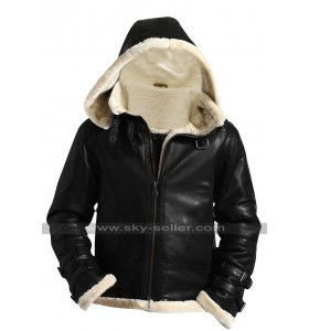 B3 Aviator Pilot Flying Fur Shearling Removable Hood Black Bomber Sheepskin Leather Jacket