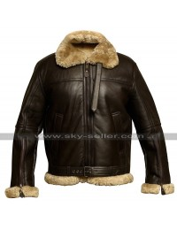 B3 RAF Aviator Pilot Flight Fur Shearling Bomber Brown Leather Jacket
