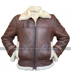 B3 Aviator Pilot RAF Fur Shearling Flying Bomber Brown Sheepskin Leather Jacket