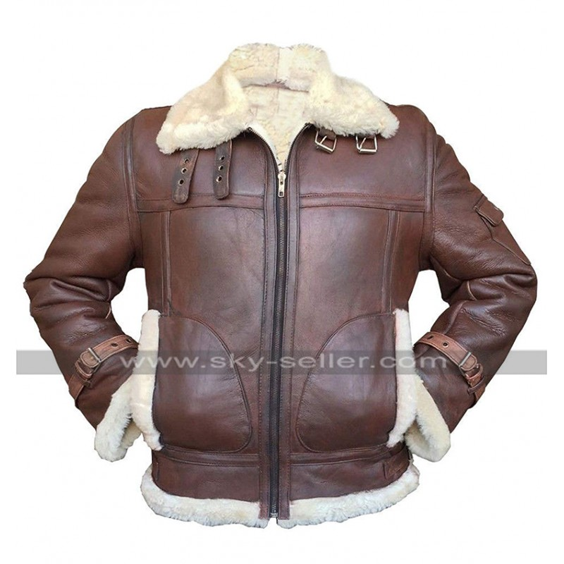Dunkirk Brown Fur Shearling RAF Aviator Motorcycle Bomber Leather Jacket For Men